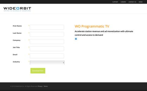 Screenshot of Landing Page wideorbit.com - WideOrbit  |  Download the WO Programmatic TV brochure - captured Aug. 20, 2016