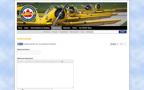 Screenshot of Testimonials Page harvards.com - Testimonials | Canadian Harvard Aircraft Association - captured Oct. 1, 2014