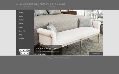 Screenshot of Home Page postcardfromparis.com - Linda McDougald Design | Postcard from Paris Home : interior design, Greenville, SC - captured Jan. 26, 2016