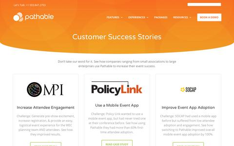 Screenshot of Case Studies Page pathable.com - Event App Case Studies and Customer Success Stories | Pathable - captured Jan. 3, 2019