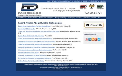Screenshot of Press Page durable-tech.com - In the News | Durable Technologies - captured Nov. 24, 2016