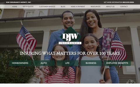 Screenshot of Home Page djwinsurance.com - Insurance Agency in New Iberia and Broussard, Louisiana - DJW Insurance Agency, Inc. - captured Dec. 19, 2018