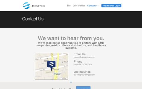 Screenshot of Contact Page ekodevices.com - Contact | Eko Devices » The Worlds Most Intelligent Stethoscope - captured July 19, 2014