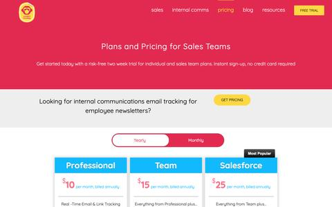 Screenshot of Pricing Page contactmonkey.com - (2) New Messages! - captured April 19, 2019