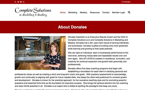 Screenshot of About Page complete-solutionsllc.com - About Donalee Gastreich | Complete Solutions LLC - captured Dec. 15, 2018