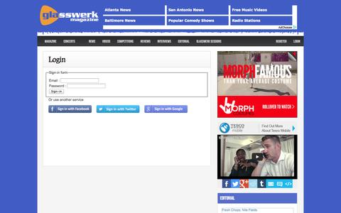 Screenshot of Login Page glasswerk.co.uk - Magazine Homepage - Glasswerk.co.uk - captured Sept. 18, 2014