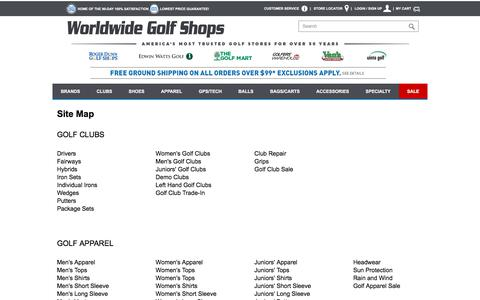 Screenshot of Site Map Page worldwidegolfshops.com - Site Map - captured Oct. 28, 2017