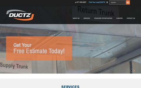 Screenshot of Home Page ductz.com - DUCTZ | Air Duct & Dryer Vent Cleaning - captured Feb. 8, 2016