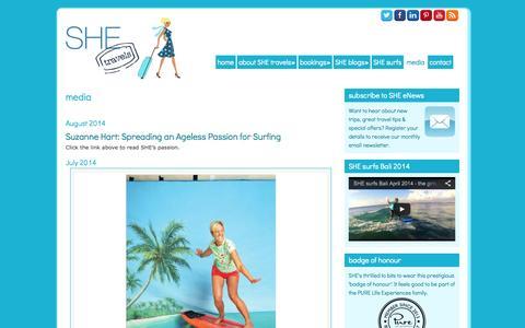 Screenshot of Press Page shetravels.net.au - media - SHE travels   holidays for women - captured Sept. 24, 2014
