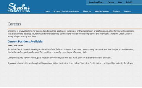 Screenshot of Jobs Page shorelinecu.org - Careers | Shoreline Credit Union - captured Feb. 16, 2016
