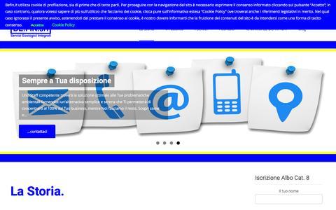 Screenshot of Home Page befin.it - Be.Fin. Srl – Servizi Ecologici Integrati | Il punto di riferimento per i rifiuti della Tua Azienda. - captured Feb. 7, 2016
