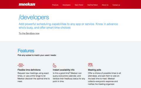 Screenshot of Developers Page meekan.com - Meekan, connecting the world's calendars - for developers | Meekan - captured Feb. 26, 2016