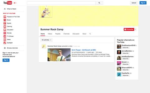 Screenshot of YouTube Page youtube.com - Summer Rock Camp  - YouTube - captured Oct. 26, 2014