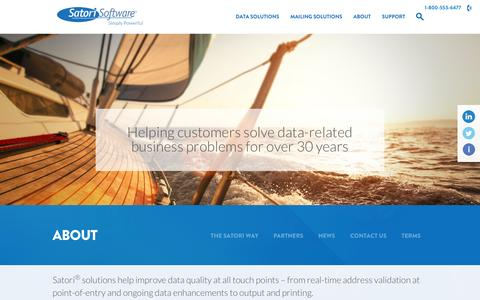 Screenshot of About Page satorisoftware.com - Delivering Data Quality and Mailing Solutions for 30+ years - captured Dec. 21, 2015
