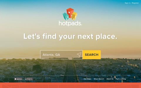 Screenshot of Home Page hotpads.com - Houses and Apartments for Rent from HotPads' Map-Based Rental Search - captured July 3, 2016