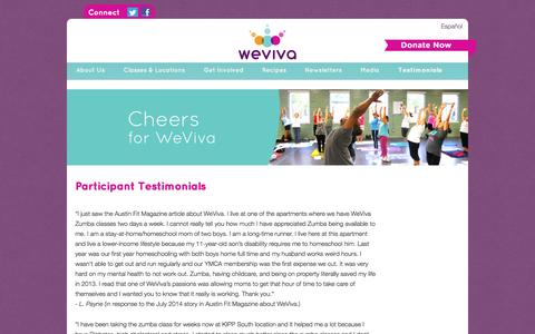 Screenshot of Testimonials Page weviva.org - WeViva | Our Reviews and Testimonials - captured Oct. 26, 2014