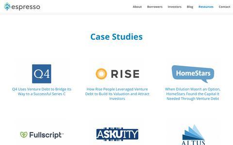 Screenshot of Case Studies Page espressocapital.com - Case Studies   Espresso Capital - Canadian Venture Debt Firm - captured Dec. 15, 2018