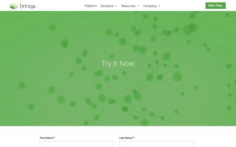 Screenshot of Trial Page brinqa.com - Try It Now - captured June 3, 2017