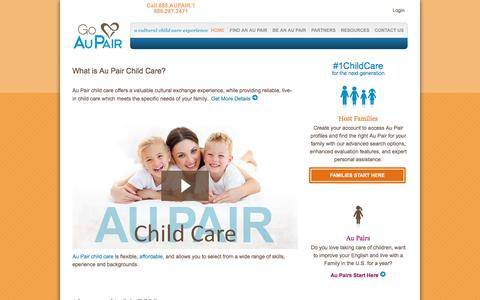 Screenshot of Home Page goaupair.com - Au Pairs | Au Pair Agency for Live in Childcare | Go Au Pair - captured Oct. 19, 2016