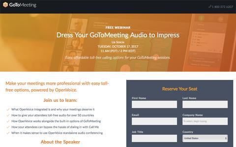 Screenshot of Landing Page gotomeeting.com - Dress Your GoToMeeting Audio to Impress - captured Oct. 12, 2017