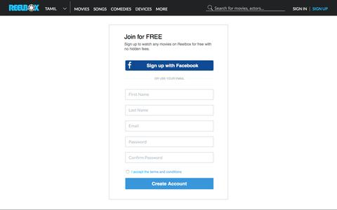 Screenshot of Signup Page reelbox.tv - Sign Up - Create Reelbox Account - captured Jan. 17, 2016