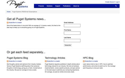 Puget Systems RSS/Email Subscriptions