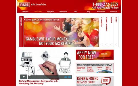 Screenshot of Home Page refundmanagement.com - U.S. Tax Refund | Casino Tax Refund | Refund Management Services - captured Oct. 7, 2014