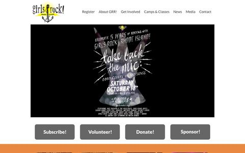 Screenshot of Home Page girlsrockri.org - Girls Rock! RI - captured Oct. 2, 2014