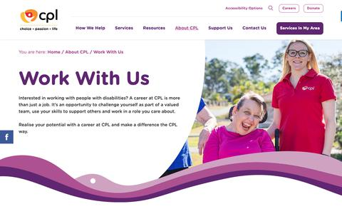 Screenshot of Jobs Page cpl.org.au - Working With People With Disabilities | CPL - Choice, Passion, Life - captured Sept. 26, 2018