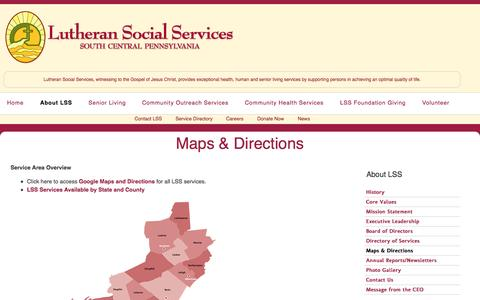 Screenshot of Maps & Directions Page lutheranscp.org - Maps & Directions | Lutheran Social Services of South Central PA - captured Oct. 3, 2014