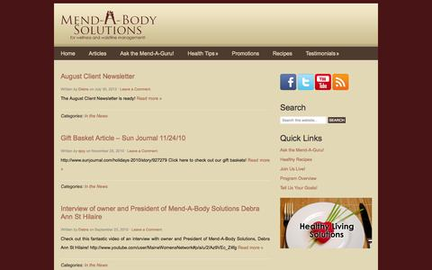 Screenshot of Press Page mendabody.com - In the News Archives - Mend-A-Body Solutions Call 877-885-6227 Today! - captured Oct. 27, 2014