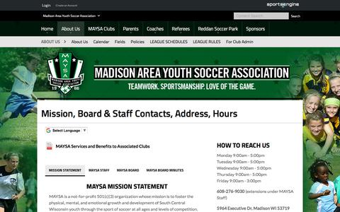 Screenshot of About Page maysa.org - Mission, Board & Staff Contacts, Address, Hours - captured July 1, 2018