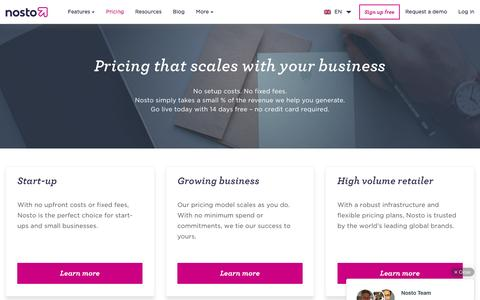 Screenshot of Pricing Page nosto.com - Pricing that scales with your business - Nosto - captured July 4, 2016