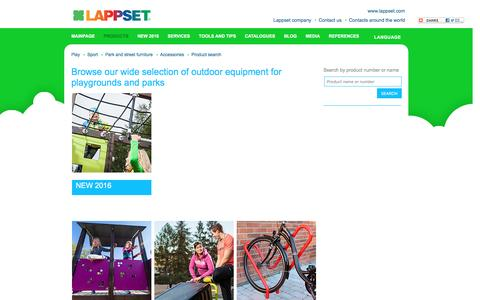Screenshot of Products Page lappset.com - Browse our wide selection of outdoor equipment for playgrounds and parks - Lappset - captured Oct. 25, 2016