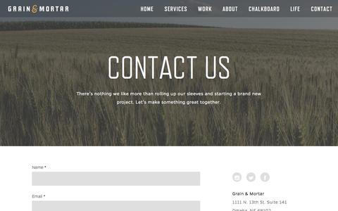 Screenshot of Contact Page grainandmortar.com - Contact Grain & Mortar | Grain & Mortar | Strategy + Branding + Design - captured Sept. 23, 2014