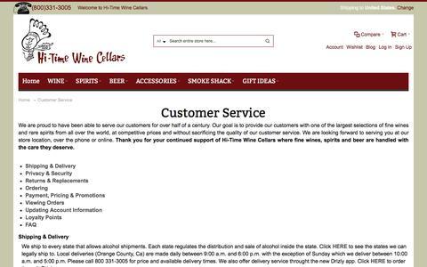 Screenshot of Support Page hitimewine.net - Customer Service - captured Sept. 6, 2016