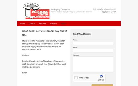 Screenshot of Testimonials Page packagingcenterinc.com - Packaging Center Inc - Packaging services High Point, NC - captured July 2, 2018