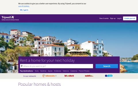 Screenshot of Home Page tripwell.com - Vacation Homes, Apartments, Houses & Rooms for Rent - Tripwell - captured Oct. 16, 2015
