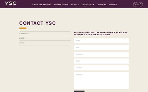 Screenshot of Locations Page ysc.com - Contact YSC - YSC Consulting - captured July 26, 2018