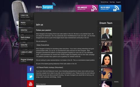 Screenshot of Jobs Page merasangeet.com - Join us - Mera SangeetMera Sangeet - captured Feb. 9, 2016