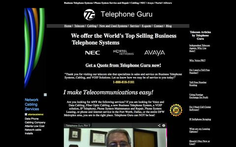Screenshot of Home Page telephoneguru.net - Dallas Business Phones, Fort Worth Business Phone Systems, Cabling, Telephone System Repair and Programming, Fort Worth, Dallas, DFW - captured Sept. 23, 2014