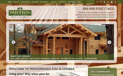 Screenshot of Home Page woodhavenlog.com - Woodhaven Log & Lumber - log siding, knotty-pine paneling - captured Sept. 19, 2014