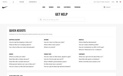 Screenshot of Contact Page nike.com - Nike Customer Service. Get Help with Returns, Ordering & Products. - captured July 3, 2018