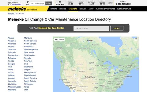 Screenshot of Locations Page meineke.com - Oil Change & Car Maintenance Location Directory - Meineke - captured Oct. 5, 2017