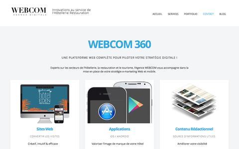 Screenshot of Services Page agencewebcom.com - Prestations WEBCOM 360 | Agence WEBCOM – Agence digitale à Paris – Hotellerie Restauration - captured Sept. 19, 2014