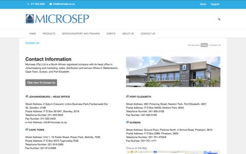 Screenshot of Contact Page Support Page microsep.co.za - Contact Us   Microsep.co.za - captured Oct. 27, 2014
