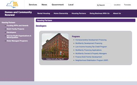 Screenshot of Developers Page nyshcr.org - Housing Partners - Developers - captured Dec. 3, 2016