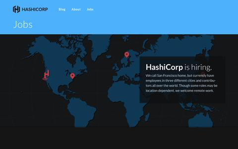 Screenshot of Jobs Page hashicorp.com - Jobs - HashiCorp - captured Oct. 28, 2014