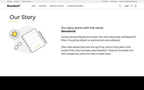 Screenshot of About Page bewakoof.com - Online Fashion Shopping for Men, Women, Accessories - Bewakoof.com - captured June 29, 2019