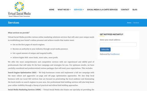 Screenshot of Services Page virtualsocialmedia.com - Social Media Marketing |SMM| SMO Package| - captured Nov. 20, 2016
